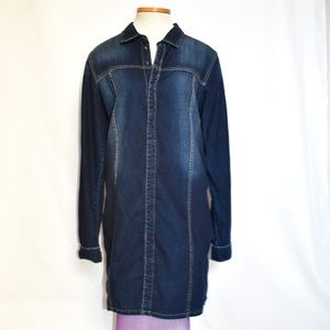 Hudson L.A. denim shirt dress sz L retail $234
